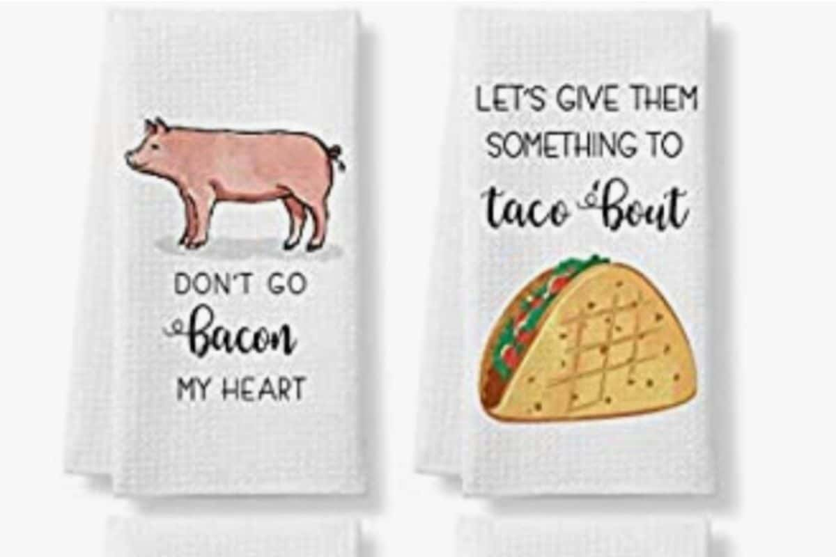 funny kitchen towels gift