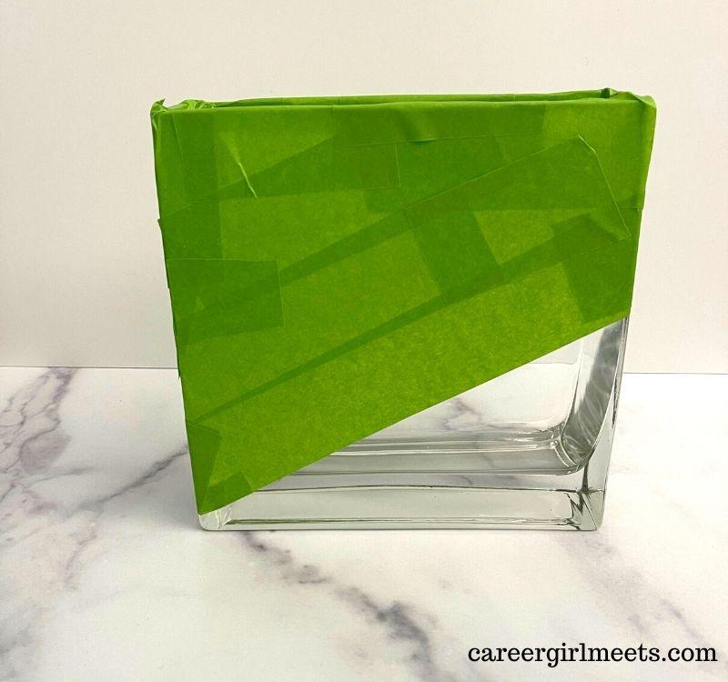 block glass vase paint