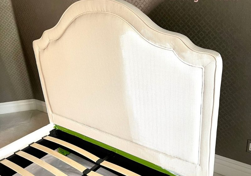 DIY PAINT UPHOLSTERY: OLD FABRIC BED GETS A MAKEOVER